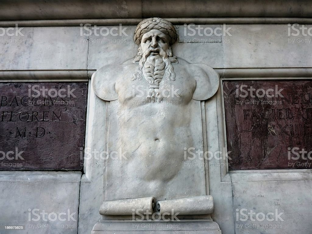 Relief, Ercole e Caco statue's Pedestal, Piazza Della Signoria Florence stock photo