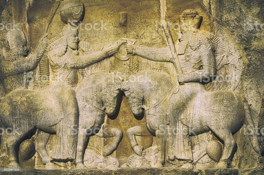 Relief from Naqsh-e Rustam, Iran stock photo