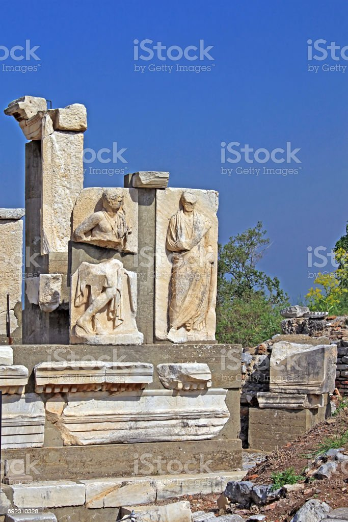 Relief in Ephesus. Ancient Greek city on the coast of Ionia near Selcuk. Izmir province. Turkey. Asia Minor stock photo