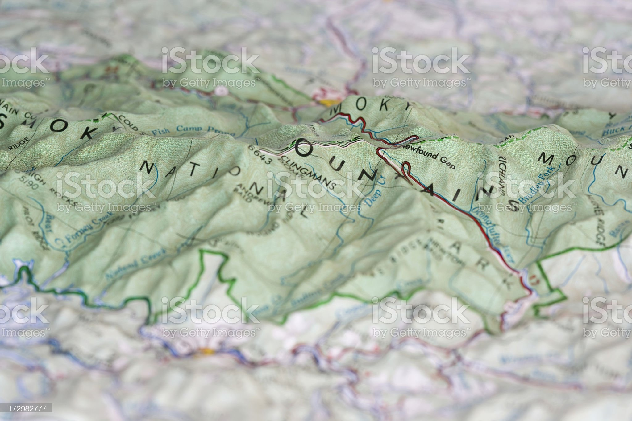 Relief map of the Great Smoky Mountains royalty-free stock photo