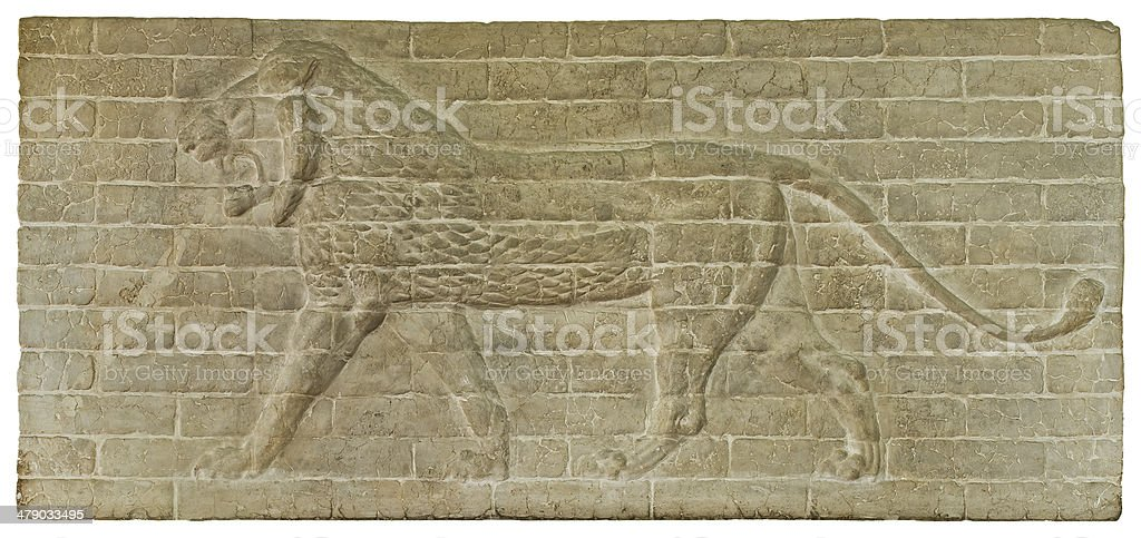 Relief of a lion from the Ishtar Gate, c.575 BC stock photo