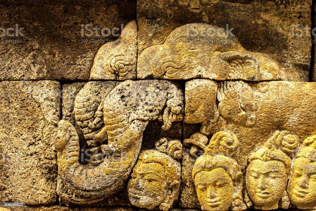 Relief of elephants at Borobudur on Java stock photo
