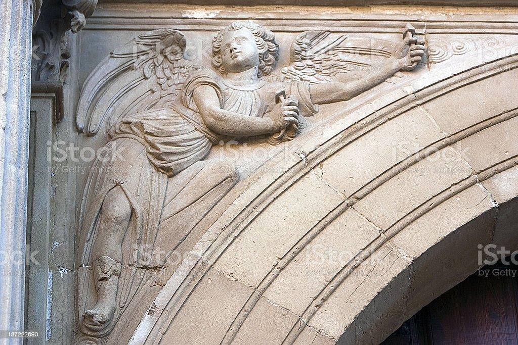 Relief of Front chapel El Salvador, Ubeda, Spain stock photo