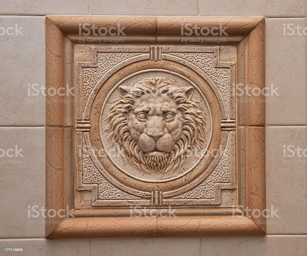 relief of lion stock photo