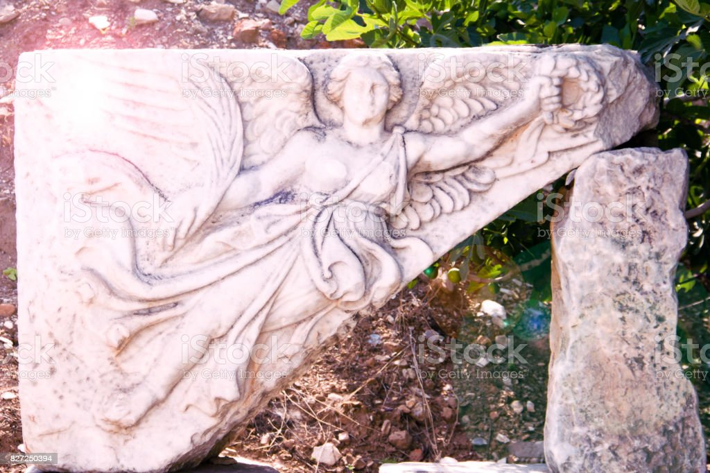 Relief Of Nike, Winged ,Goddess Of Victory At Ancient Ephesus stock photo