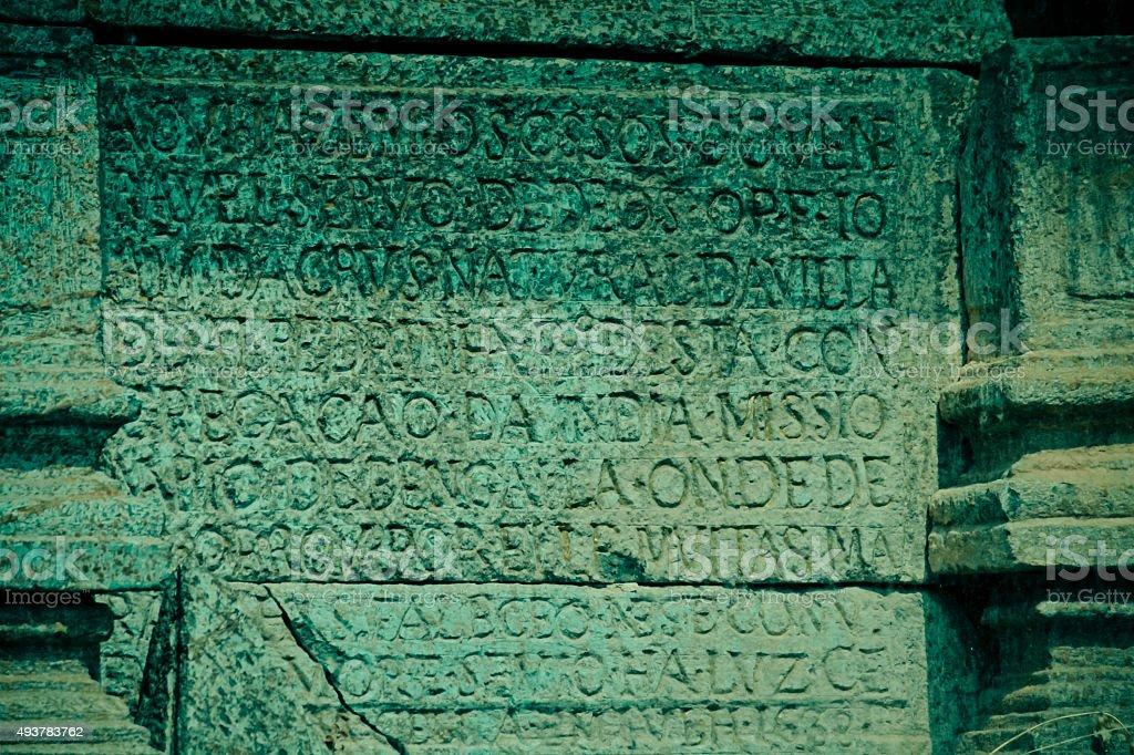 Relief on stone stock photo