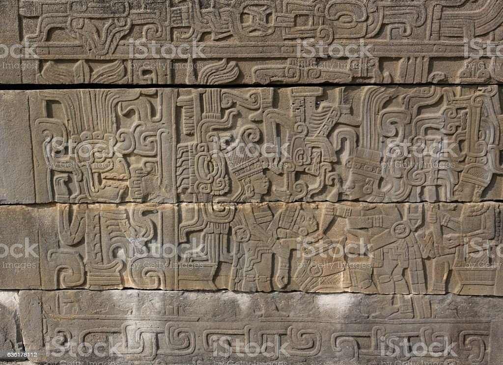 Relief Sculpture of a Ceremonial Sacrifice at El Tajin, Mexico stock photo