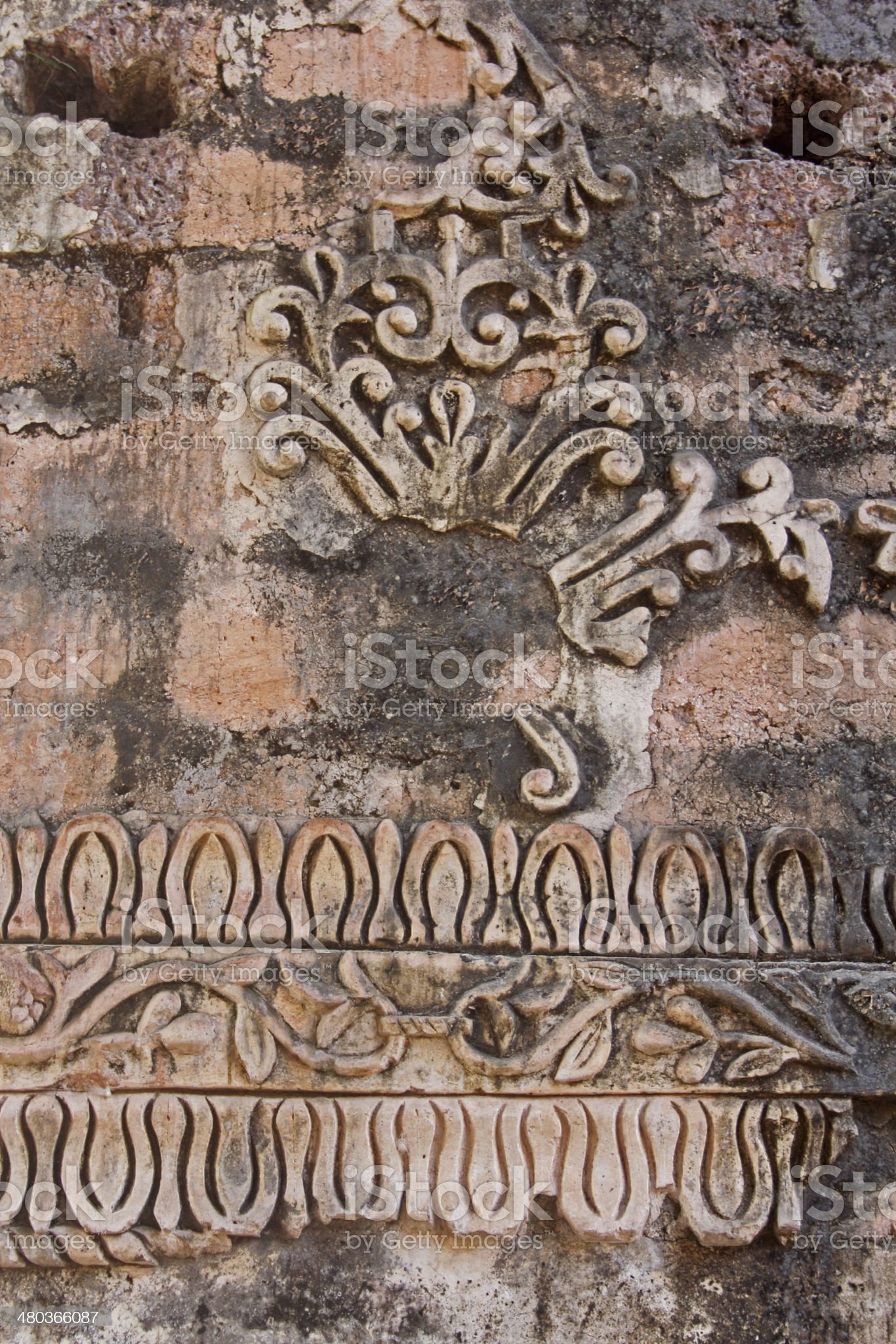 Relief stone, part of ruins of church of St Augustine royalty-free stock photo
