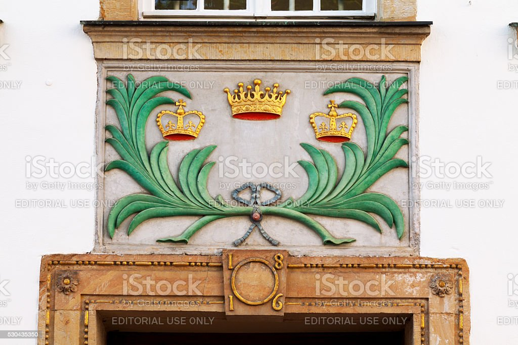 Relief with three crowns stock photo