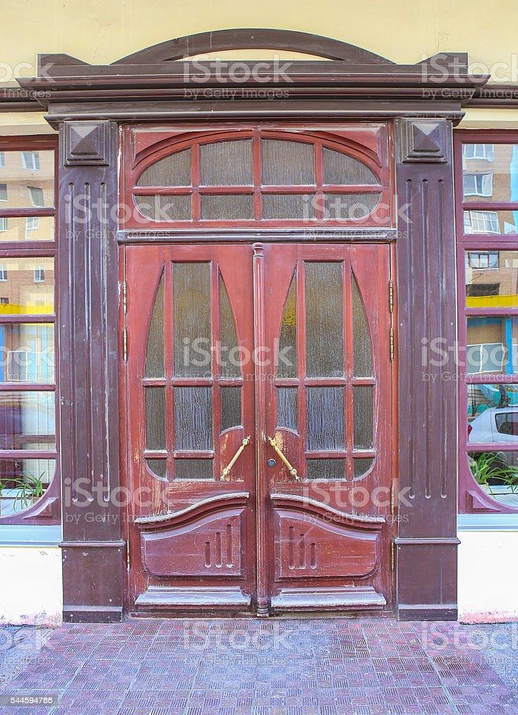 relief wooden door stock photo