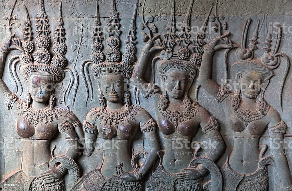 Reliefs at Angkor Wat, Cambodia stock photo