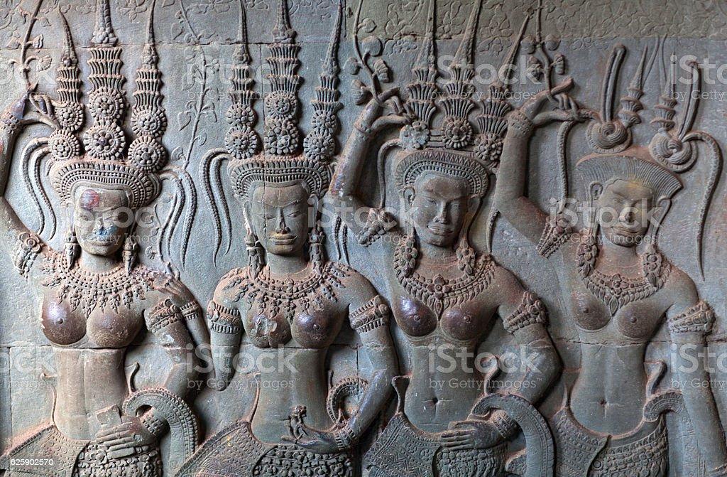 Reliefs at Angkor Wat, Cambodia stock photo