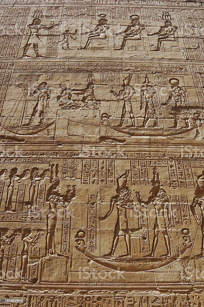 Reliefs of Egyptian hieroglyphs royalty-free stock photo
