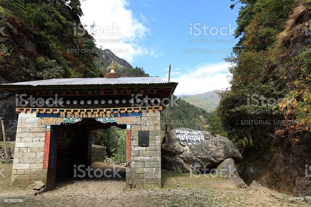 religion building on the way to sagarmatha national park,nepal stock photo