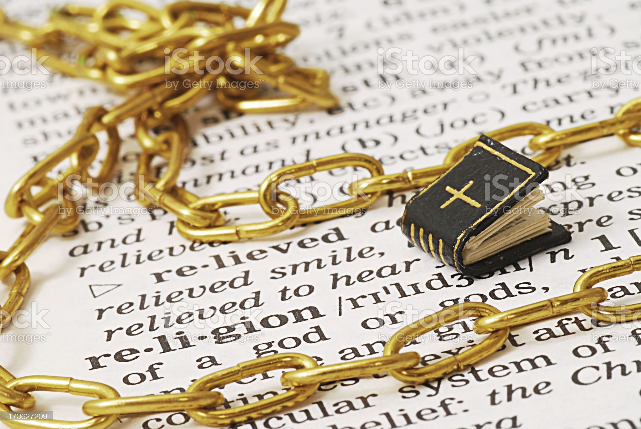 religion definition chains in dictionary royalty-free stock photo