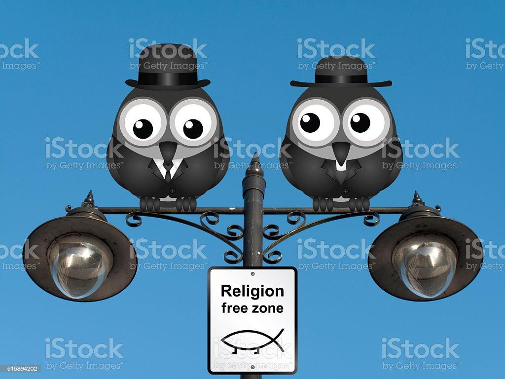 Religion Free Zone stock photo