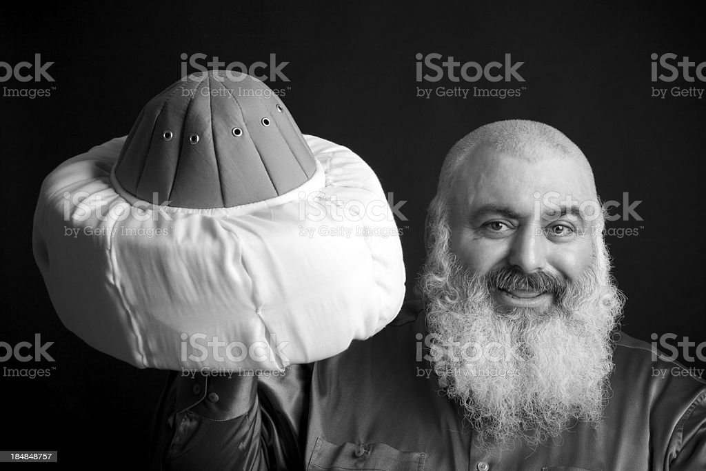 Religion man holding his hat. stock photo
