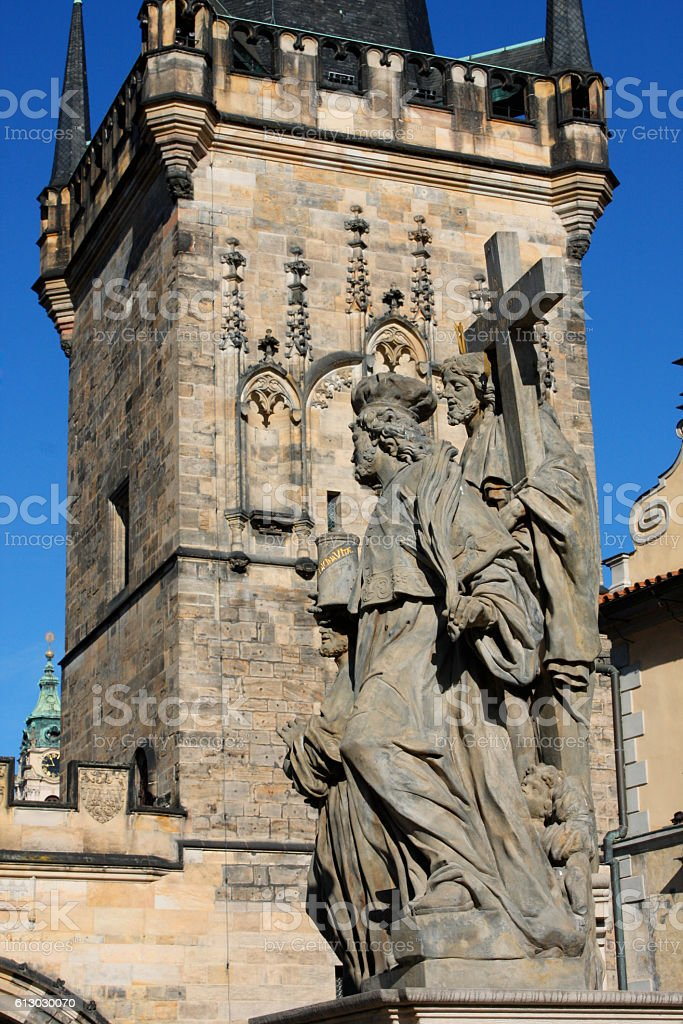 Religion statues on the Charles bridge is located in Prague stock photo