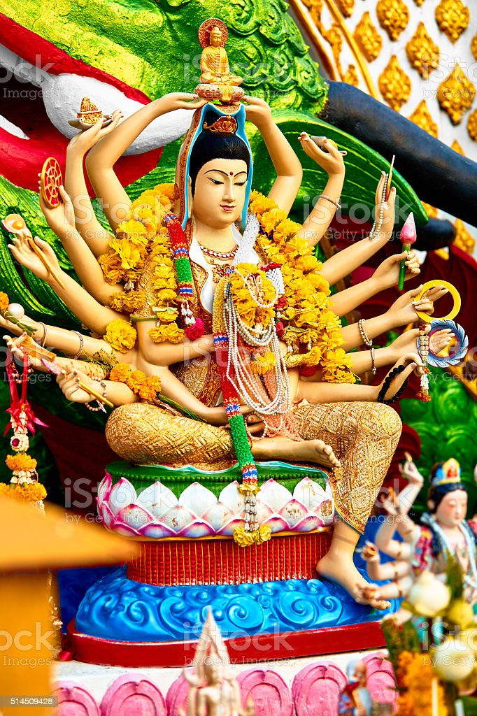 Religion, Thailand. Guanyin Statue, Wat Plai Laem, Big Buddha Temple stock photo