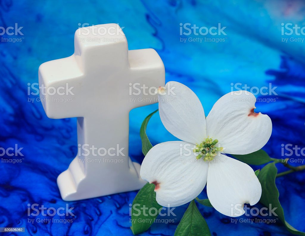 Religion: White Cross with a Dogwood Flower on blue background stock photo