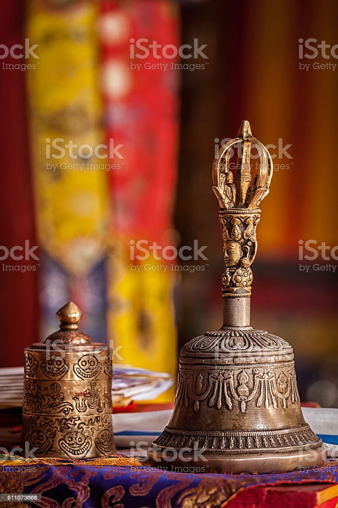 Religious bell in Buddhist monastery stock photo