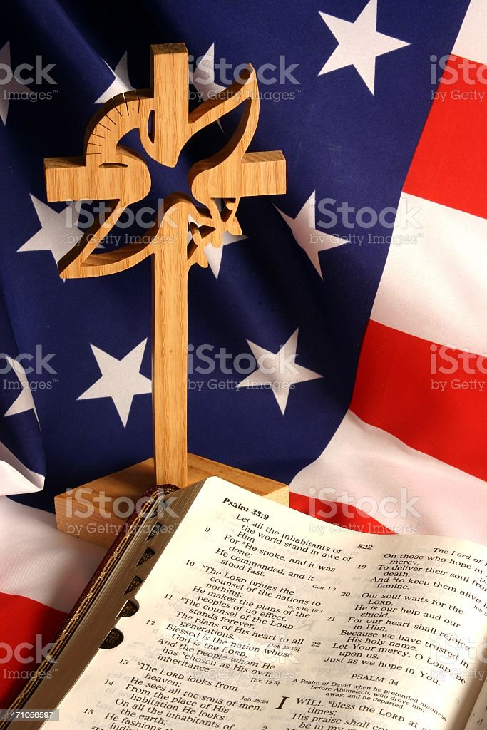 Religious: Bible scripture & American Flag Series stock photo