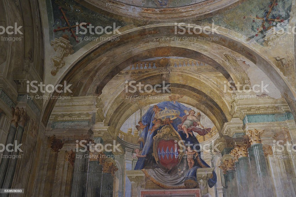 religious ceiling and wall painting italy stock photo