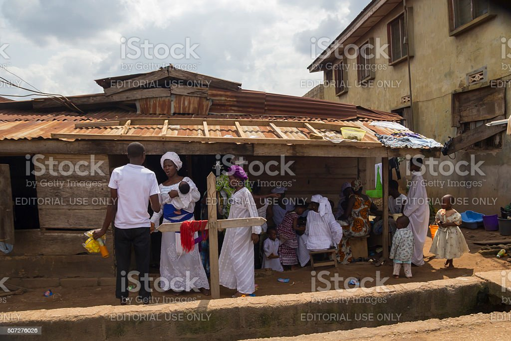 Religious ceremony in Nigeria, Africa stock photo