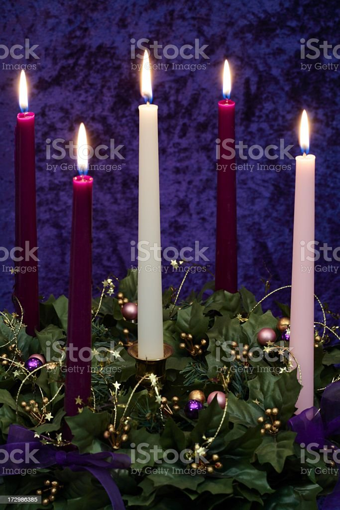 Religious: Christmas Advent Wreath with burning candles royalty-free stock photo