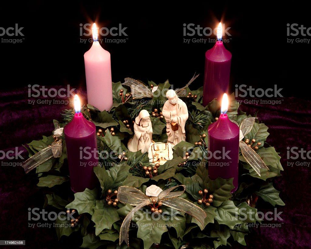 Religious: Christmas Advent Wreath with Nativity Scene stock photo