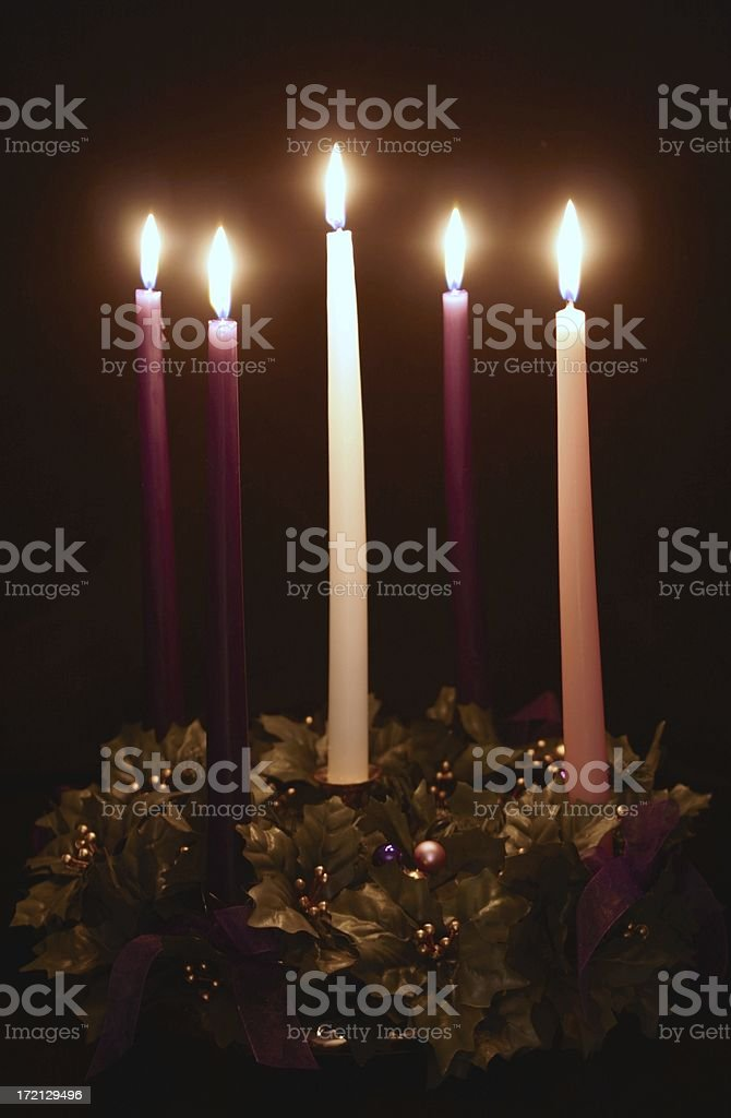 Religious: Christmas holiday Advent wreath with candles stock photo