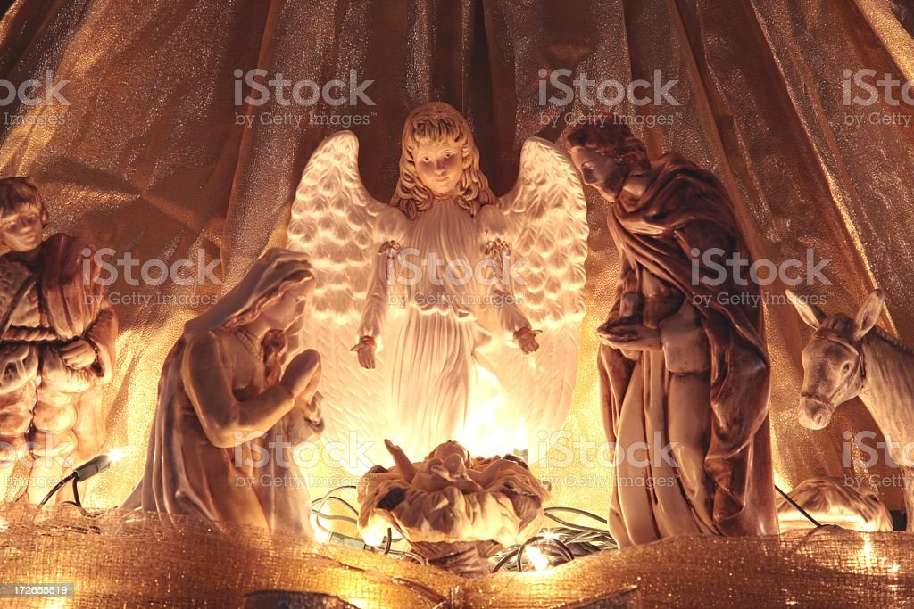 Religious: Christmas Nativity Scene with angel royalty-free stock photo