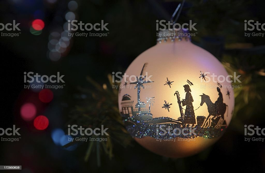 Religious: Christmas ornament with Nativity Silhouette stock photo