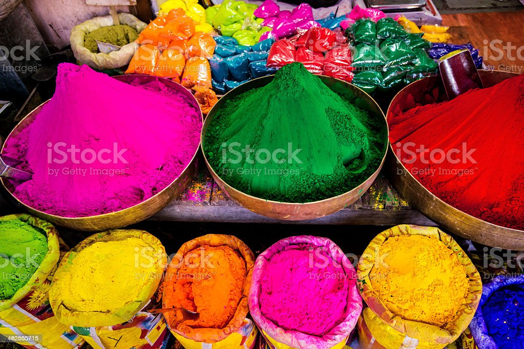 Religious colorful Holi powder for sale in India stock photo