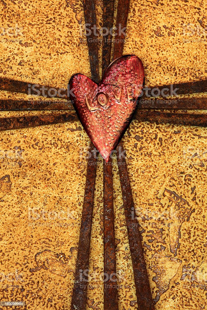 Religious: Cross of Rusty Nails with Heart stock photo