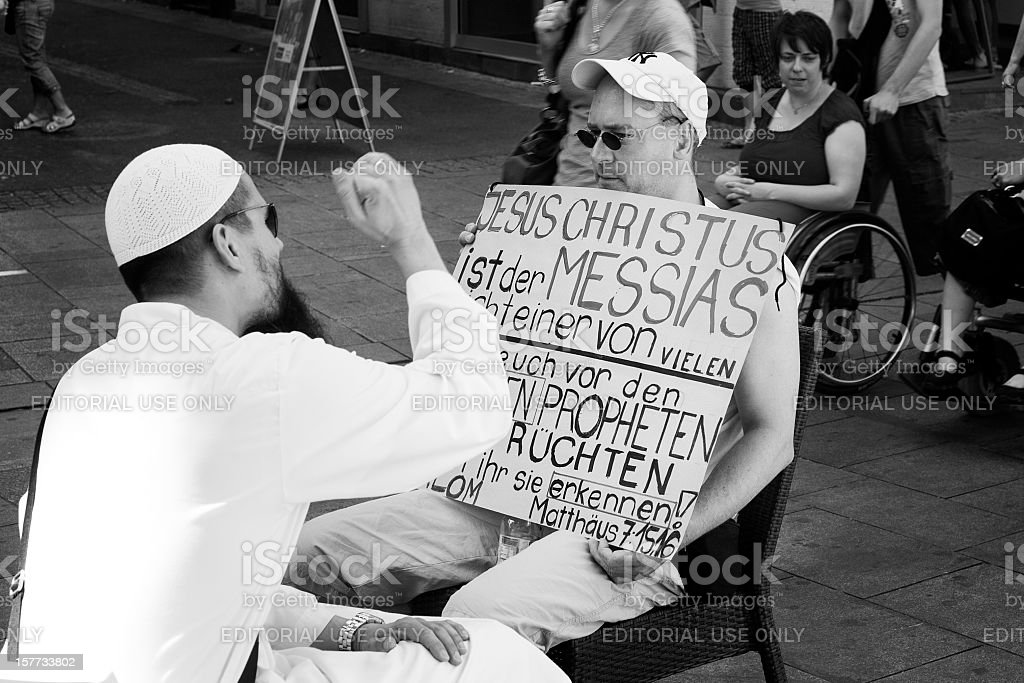 Religious dispute stock photo