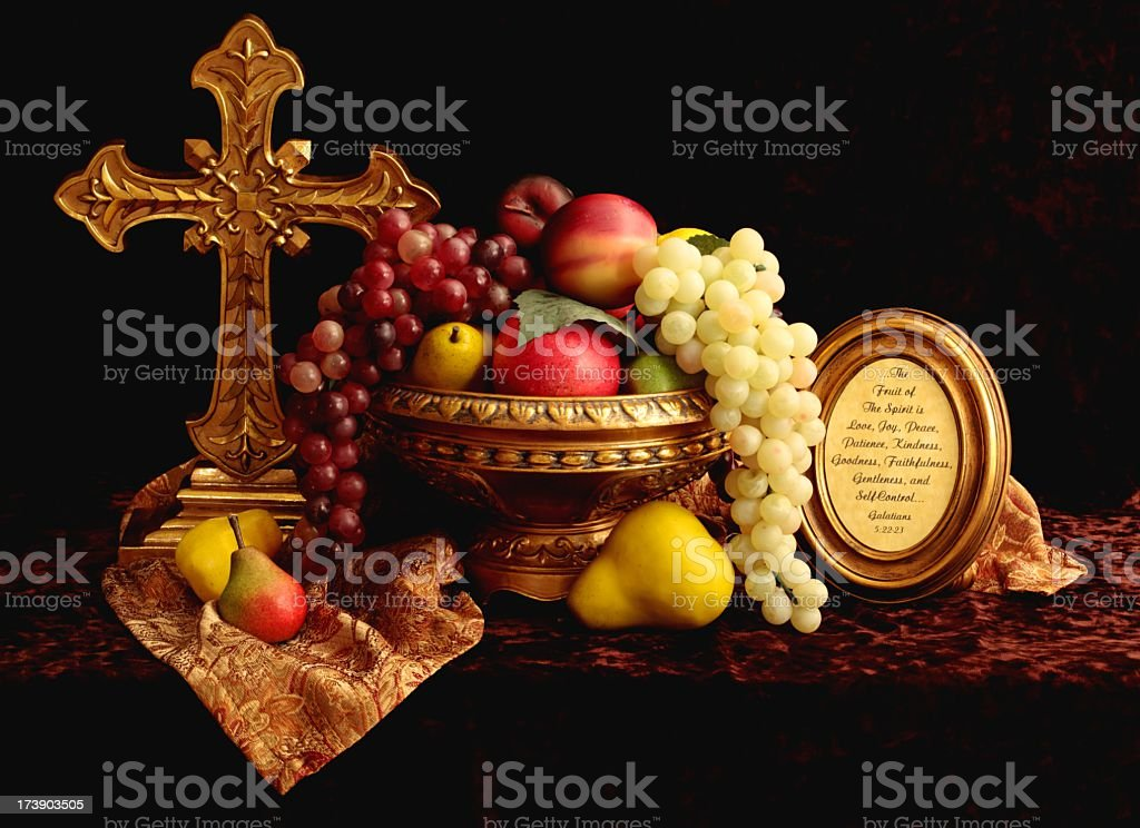 Religious: Fruit of the Spirit Still Life stock photo