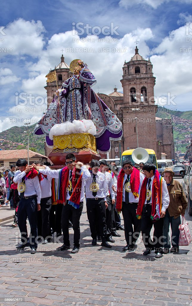 Religious  holiday in Cuzco, Peru stock photo