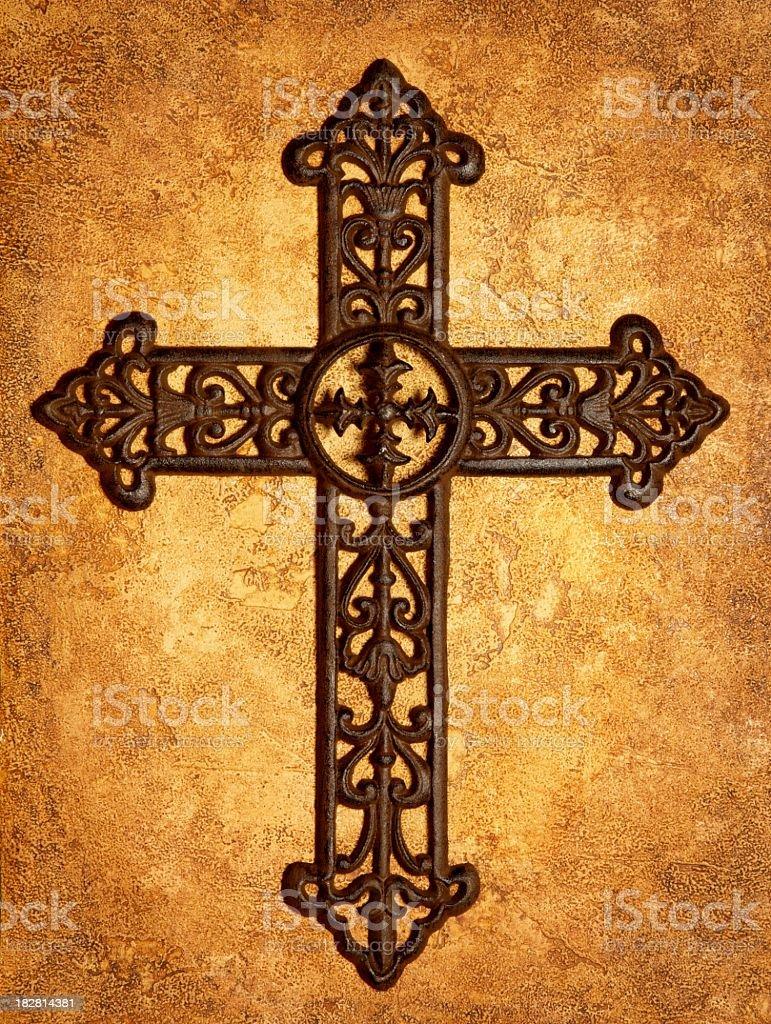 Religious: Iron Cross on Antiqued Textured Background stock photo