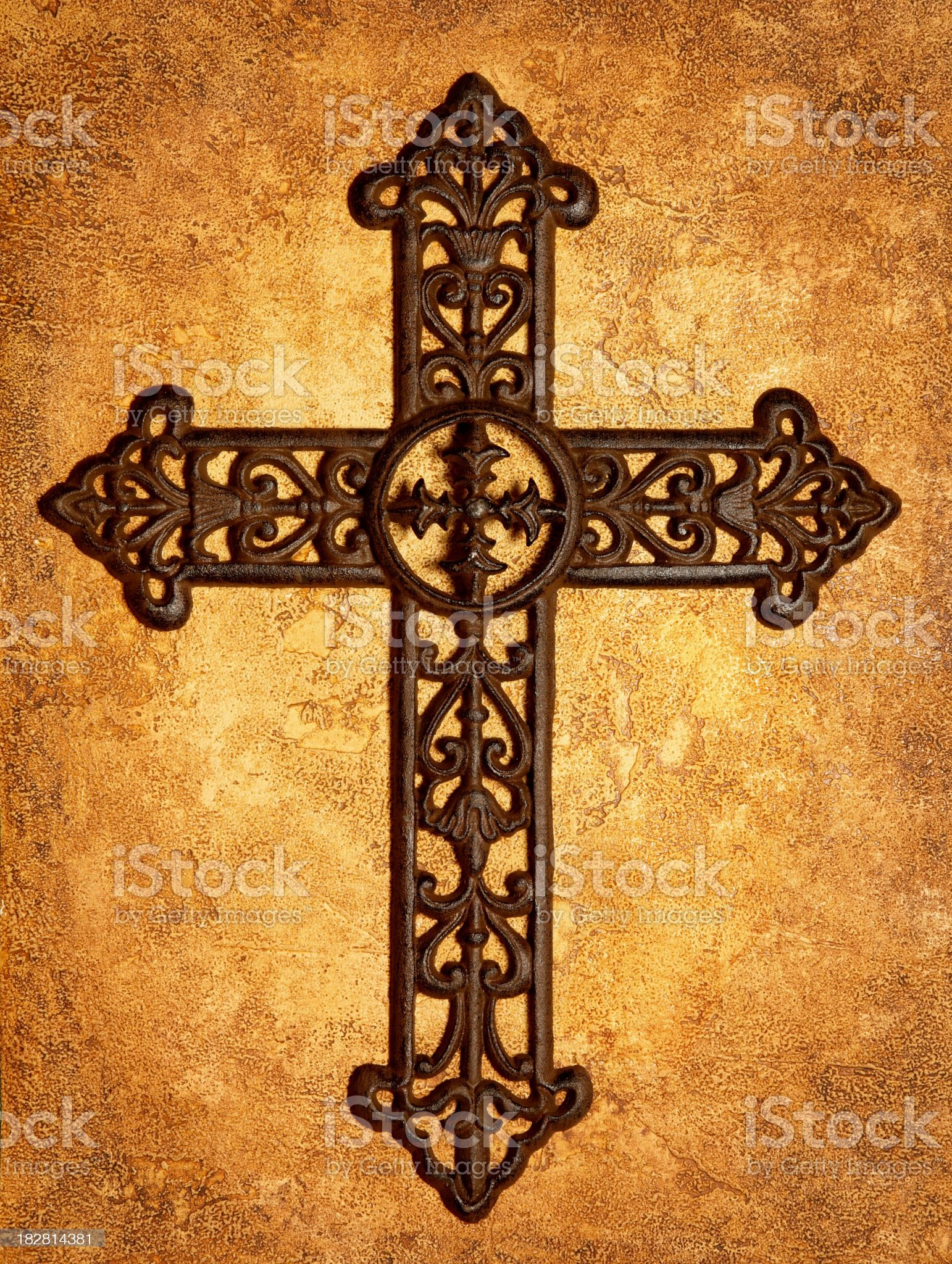 Religious: Iron Cross on Antiqued Textured Background royalty-free stock photo