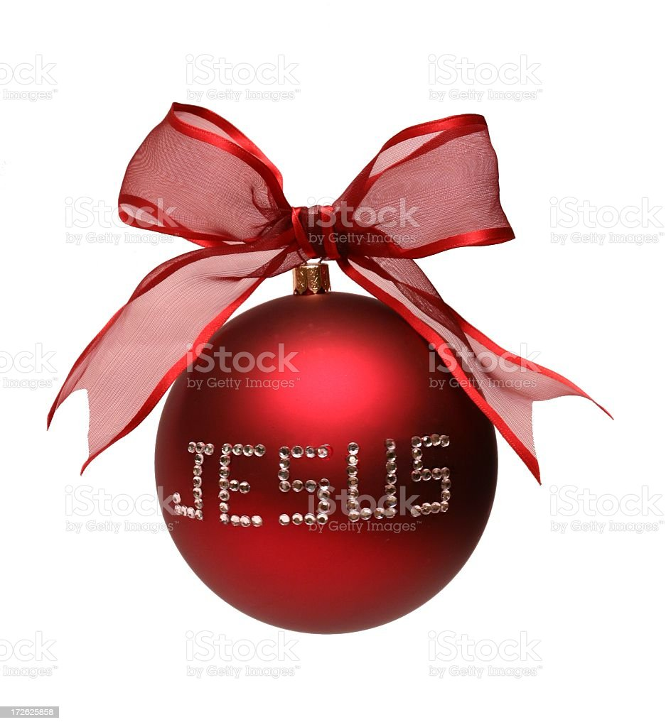 Religious: Jesus spelled on Red Christmas Ornament Isolated royalty-free stock photo