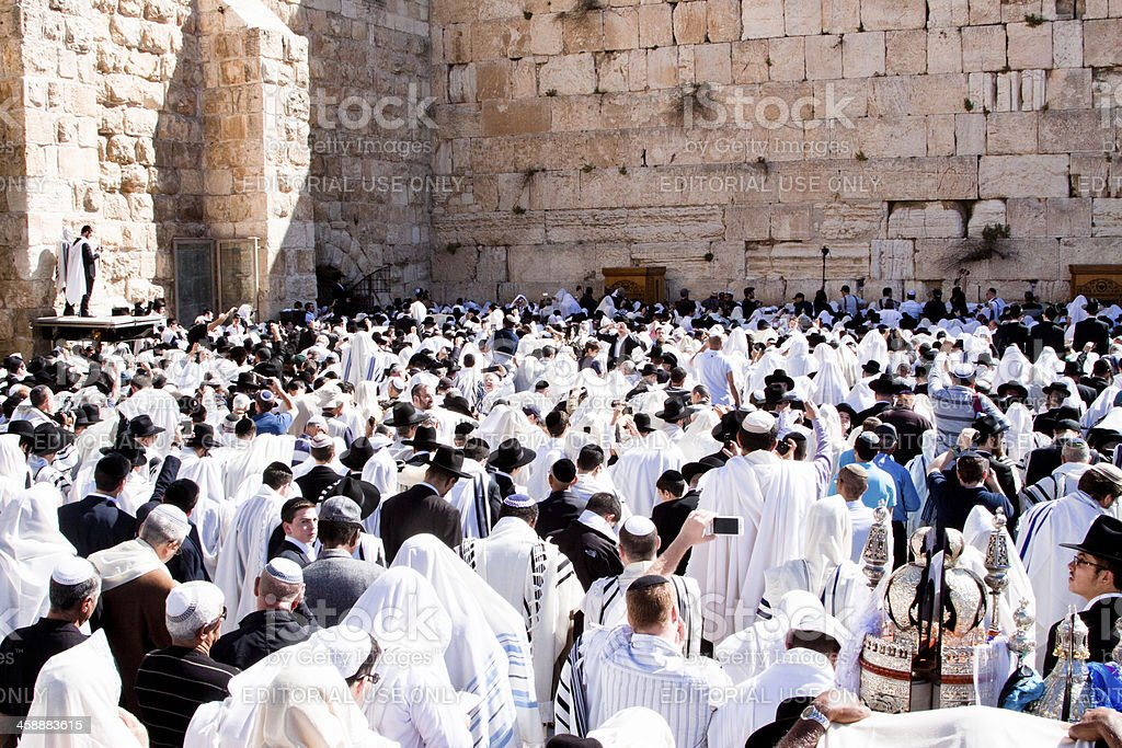 Religious Jew filming Prayer with Mobile Phone, Western Wall stock photo