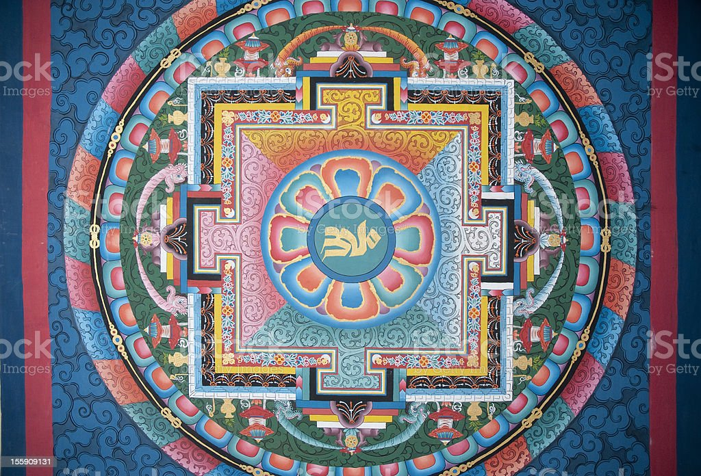Religious Mural at Changangkha Temple, Bhutan royalty-free stock photo