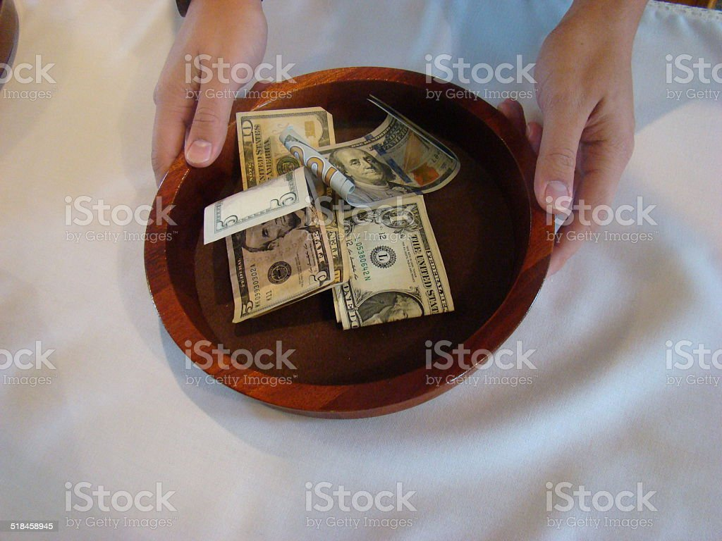 Religious Offering Collection Plate stock photo