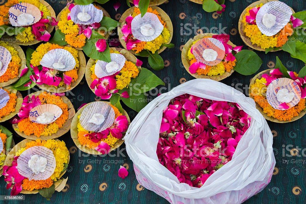 Religious offerings and oil lamps, Varanasi, Uttar Pradesh, India stock photo
