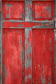 Religious: Old Wood red Door with Cross