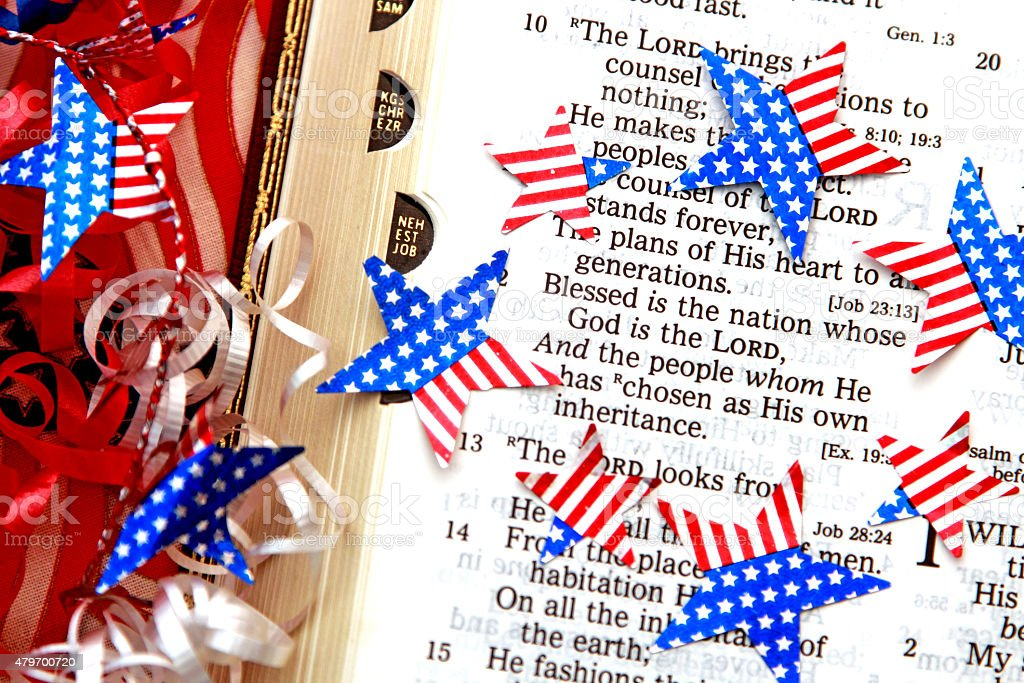 Religious Patriotic scripture from Psalms with red white blue stars stock photo
