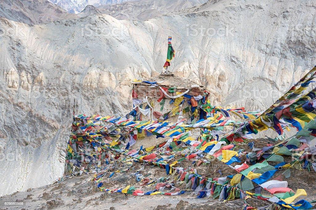 Religious : Prayer flags at Lamayuru Tibetan stock photo