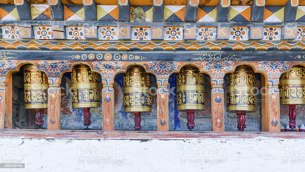 Religious prayer wheels in Bhutan stock photo