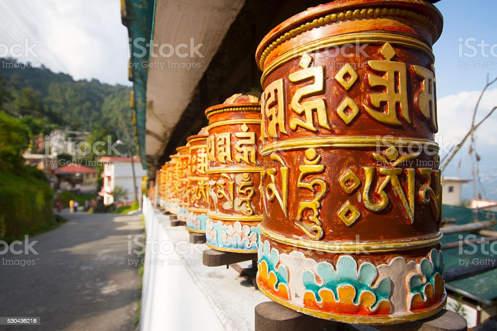 Religious prayer wheels in Sikkim stock photo